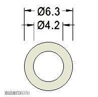 Távtartó Gyűrű Műanyag opál D:6.3mm, hossz:2mm