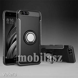 Xiaomi Mi 6, Ott! Metal Ring szilikon védőtok, Fém ujjgyűrű, Kitámasztható, Karbon minta, Fekete