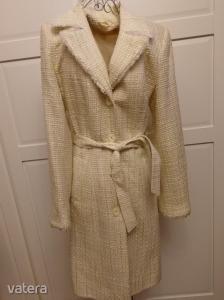 Női 34-36-os átmeneti kabát, buklé anyagú , világos színű öves tavaszi-átmeneti csinos  szövetkabát Kép