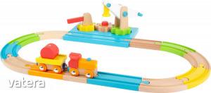 Fa vonat szett daruval- színes L11494