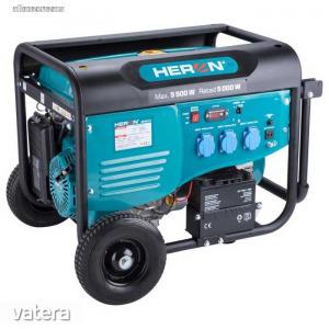 Heron benzinmotoros áramfejlesztő 5500 VA egyfázisú, önindítós + ajándék motorolajjal (8896415)