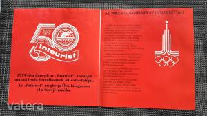 Frunze kirgiz főváros retro szovjet utazási prospektus, Aeroflot és moszkvai olimpia reklám - 1979