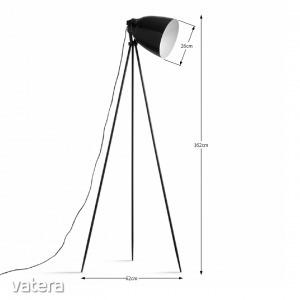 Állólámpa, fekete fém,  CINDA TIP 5 YF6249