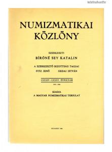 Numizmatikai Közlöny 84-85. évfolyam 1985-1986