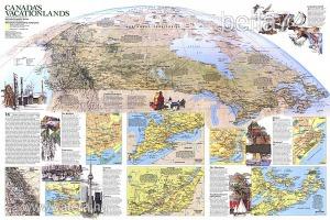 Eredeti térképmelléklet - National Geographic Magazine 1985. Canadas Vacationlands