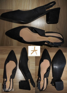 38 fekete ÚJ elegáns szandálcipő szling_kényelmes magas sarkú fekete nyitott cipő szandál 37/38