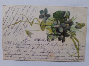 Képeslap, levelezőlap - virágok  motívum 1901. bélyeg Vésztő