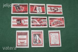 Gyufacímke,9 db,Ki mit gyűjt,könyv,,érme,képeslap,bélyeg sor,40f
