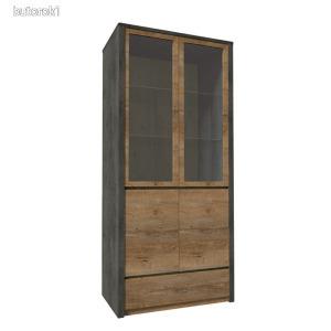 Vitrines szekrény, tölgy lefkas sötét/smooth szürke, MONTANA W2D