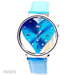 Womage Női karóra, átlátszó óralappal, szív mintázattal - Kék