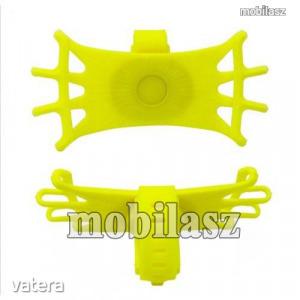 UNIVERZÁLIS biciklis / kerékpáros tartó konzol mobiltelefon készülékekhez - CITROMSÁRGA - 360°-ba...