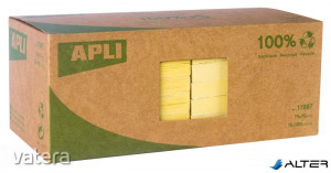 Öntapadó jegyzettömb, 75x75 mm, 100 lap, újrahasznosított, APLI, sárga