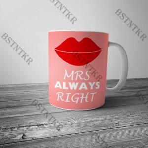 Right mrs. mintás bögre Valentin napra Valentin nap
