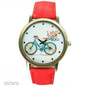 Geneva Női karóra kerékpáros óralappal - Piros
