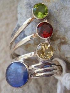 925 ezüst gyűrű többféle drágakő 17,9/56,2 mm