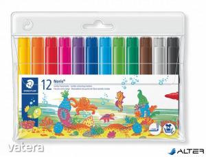 """Filctoll készlet, 3 mm, vastag, STAEDTLER """"Noris Club"""", 12 különböző szín"""