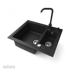 Gránit mosogató NERO Arriva + Steel csaptelep + adagoló + dugókiemelő (fekete)