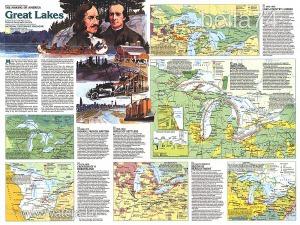 Eredeti térképmelléklet - National Geographic Magazine 1987. The making of America Great Lakes