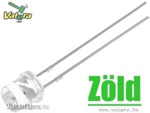 10db LED - Zöld, 5mm, 750 mcd, 140°