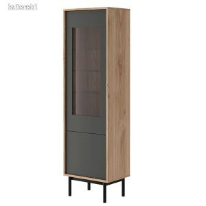 Vitrines szekrény, tölgy jasdbon hickory/grafit, BERGEN BWT54