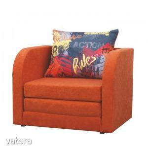 Kinyitható fotel, narancssárga/minta, RENO