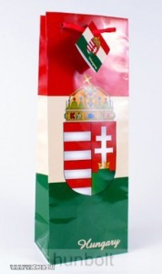 Magyar címeres piros-fehér-zöld italos dísztasak 124x76x362, ajándék tasak