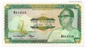 Gambia 10 Dalasis Bankjegy 1987 P10b