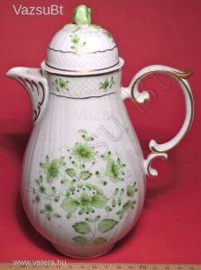 Porcelán tea kanna / teás kanna - kézzel festett - SC zöld 0,8 literes (Hollóházi Porcelán) - 17.