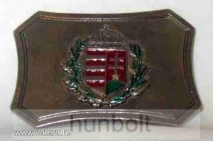 Színes címeres övcsat (ezüst színű fém, 8x5,5 cm)