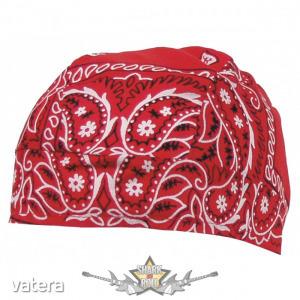 Headwrap - Fejkendő. red - white. vászon kendő