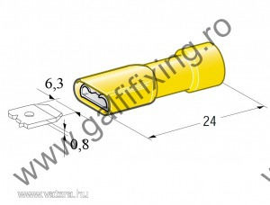 Szigetelt csúszóérintkező hüvely, 6,3 mm, 25 db/csomag