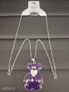 Nyaklánc maci medállal (ezüst-lila színben)